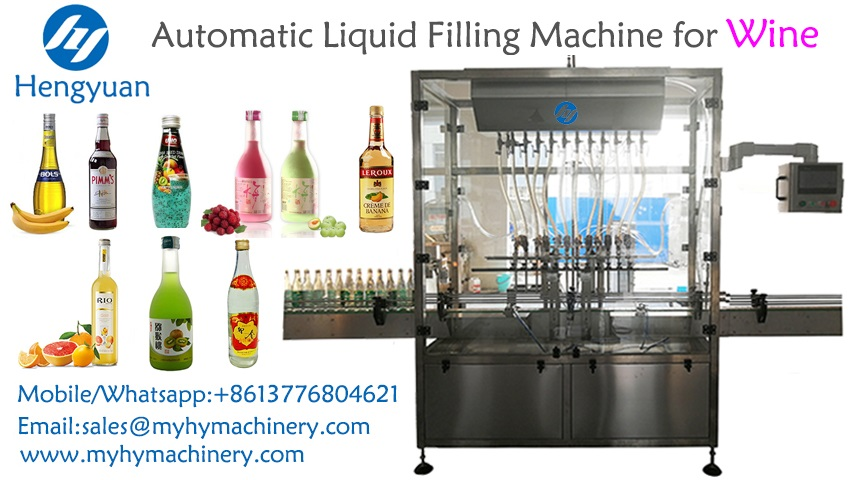 Automatic linear gravity self flow liquid filling machine for wine to Rwanda
