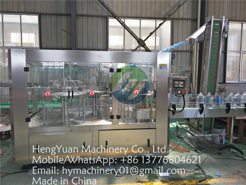 mineral drinking water pet bottle rinsing filling capping machine