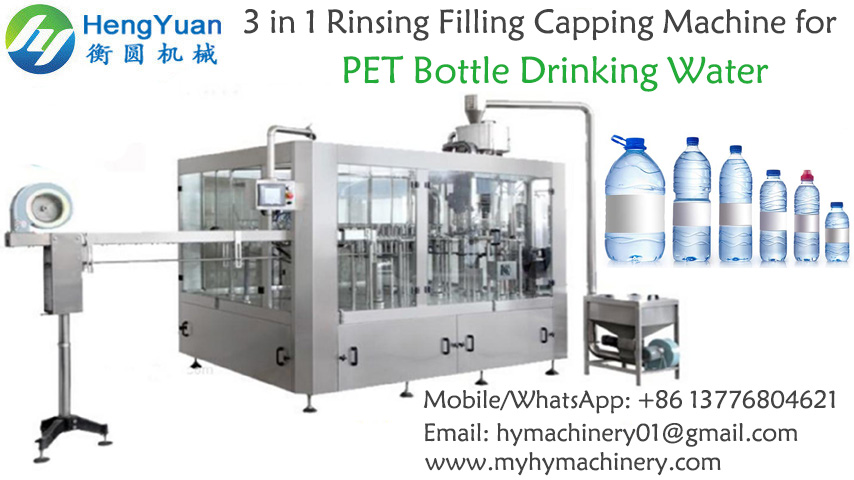 3 in 1 rinsing filling capping pet bottle drinking water filling machine